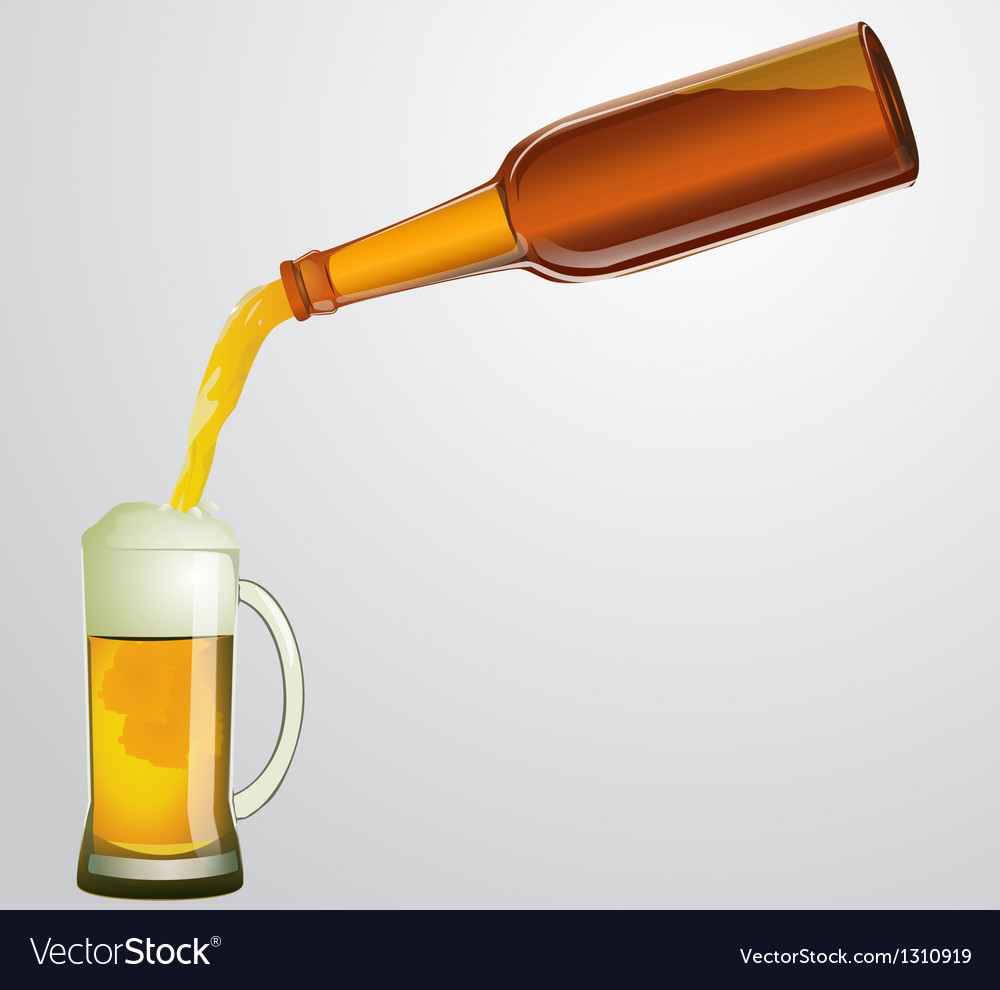 Bottle with beer and mug
