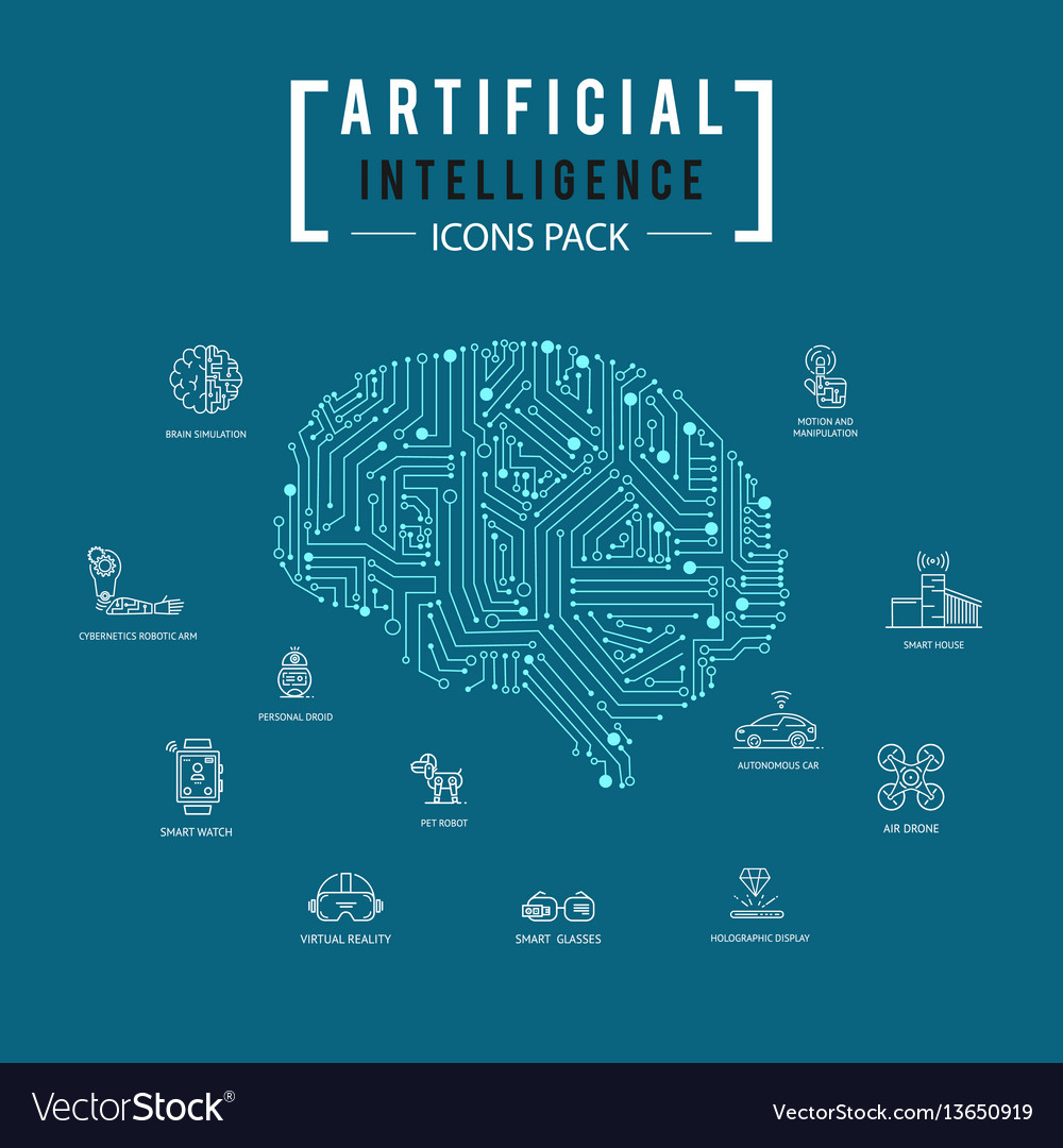 Brain artificial intelligence icon pack