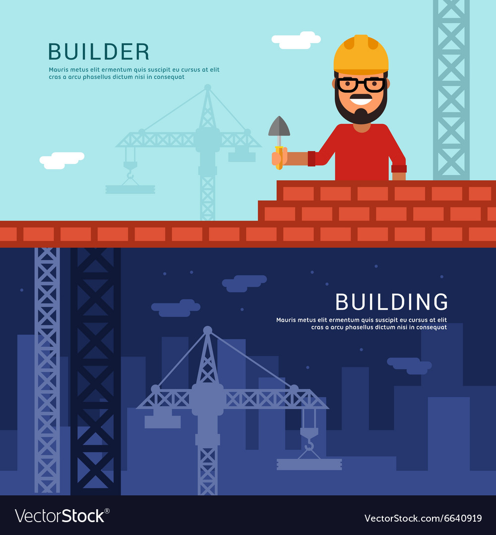 Builder and Building in Flat Design Style for Web