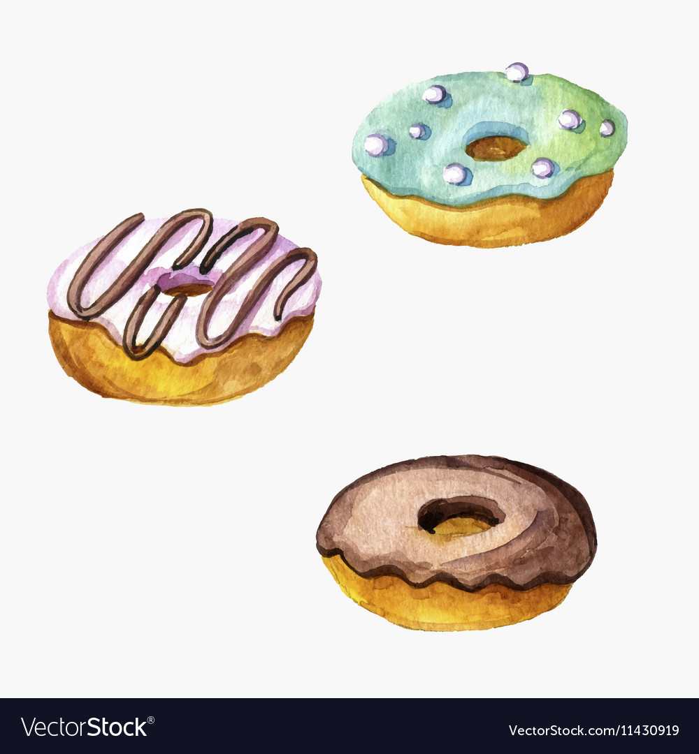 Donuts drawing in watercolor