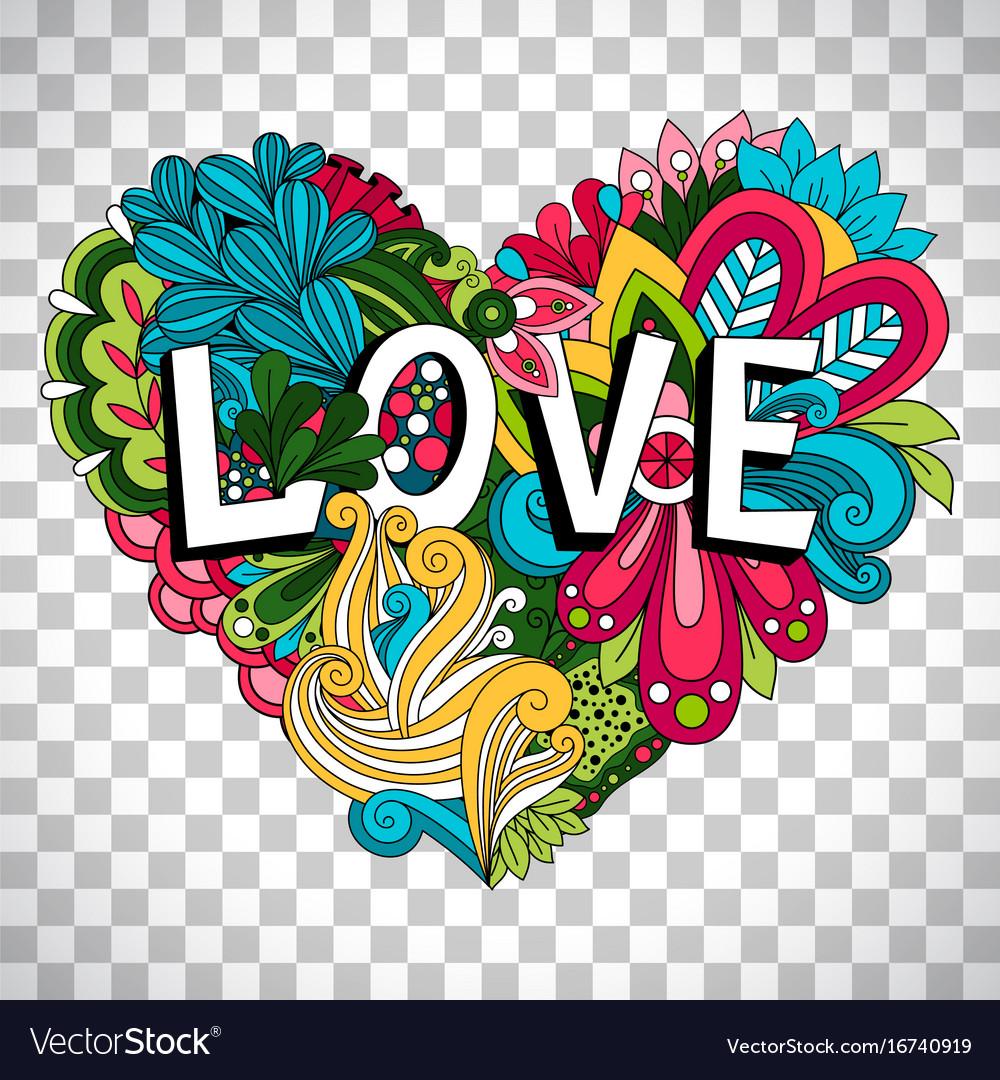 Doodle floral heart on transparent background