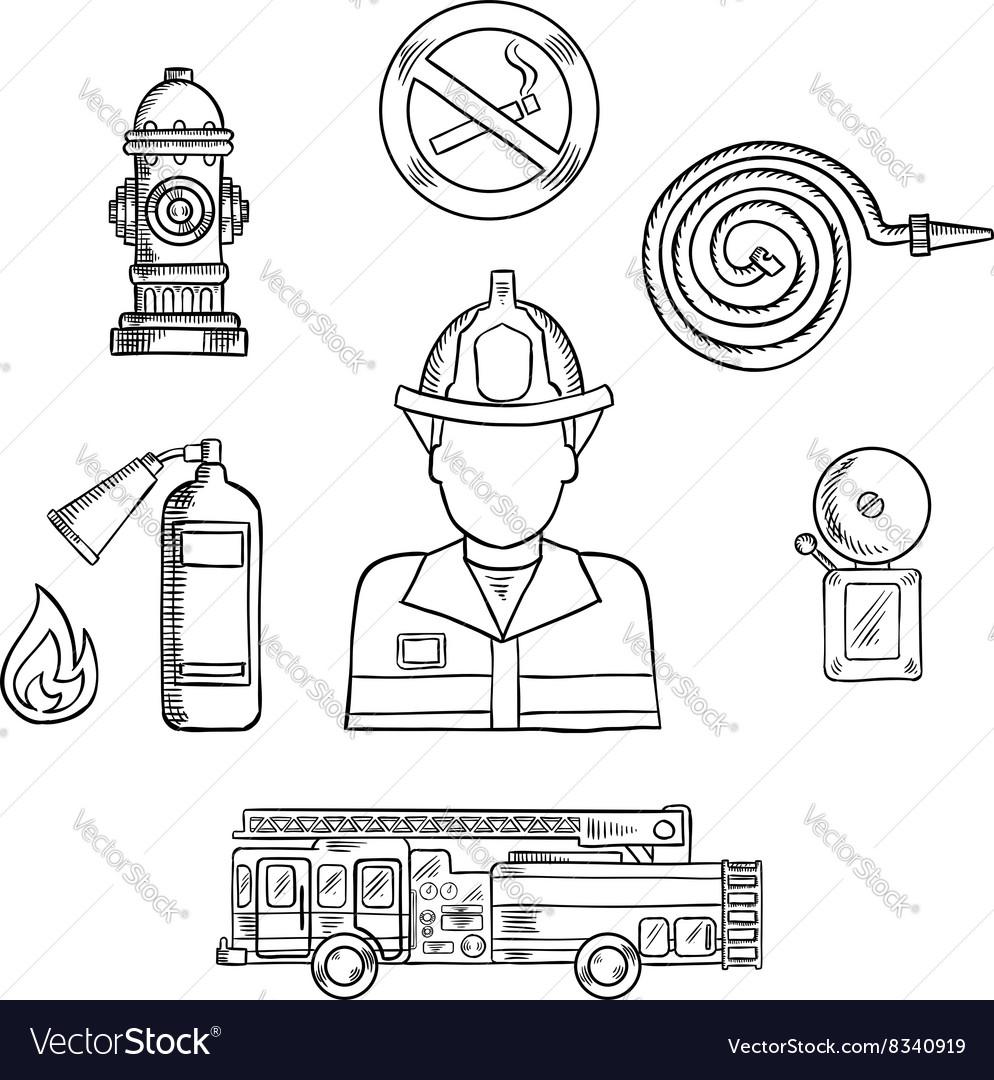 fire extinguisher sketch vector images 49