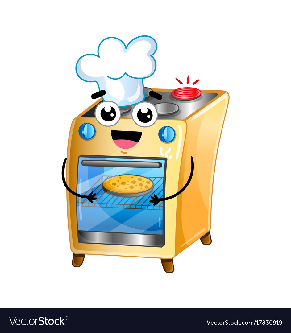 happy electric oven isolated cartoon character vector image