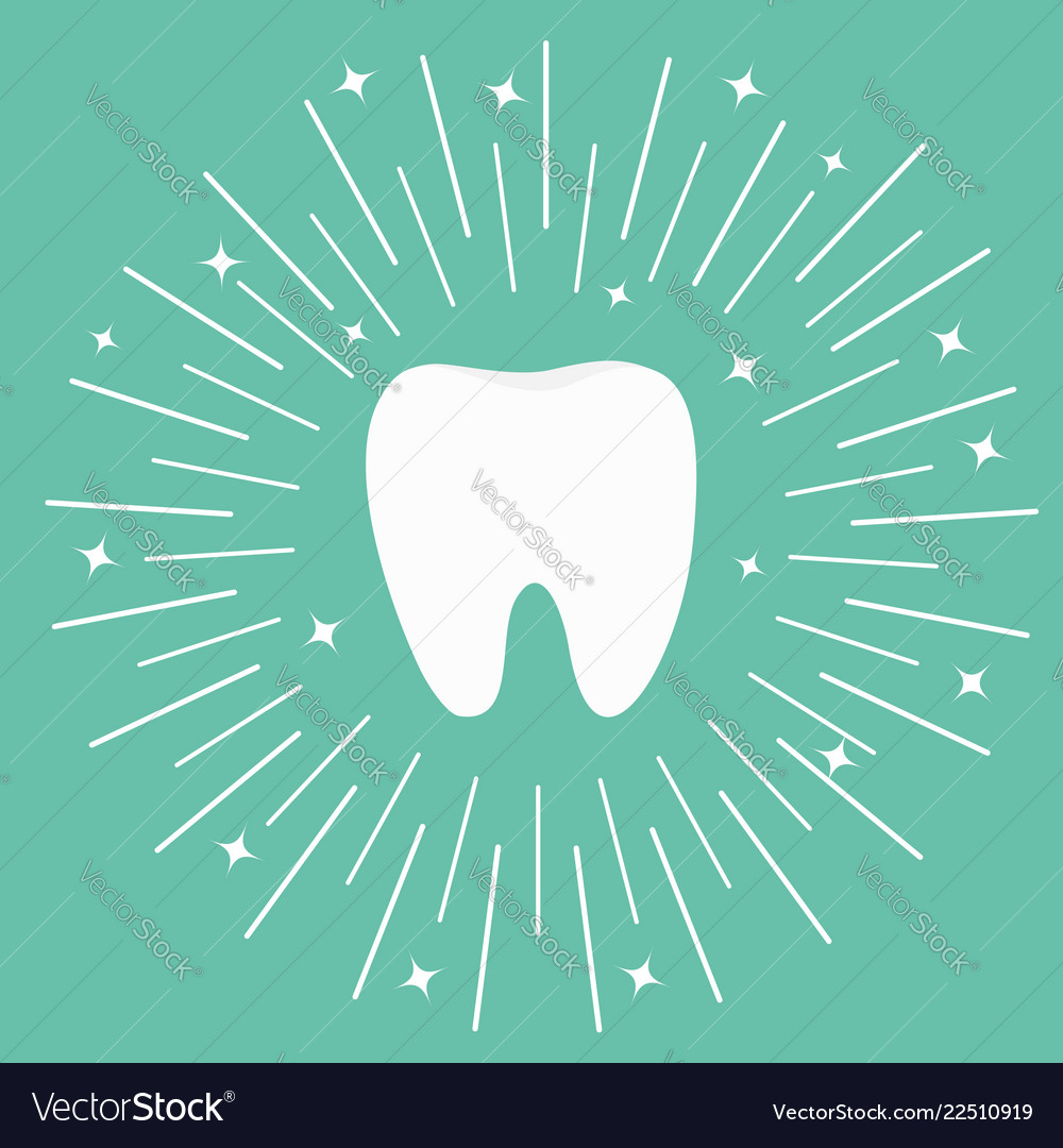 Healthy white tooth icon round line circle