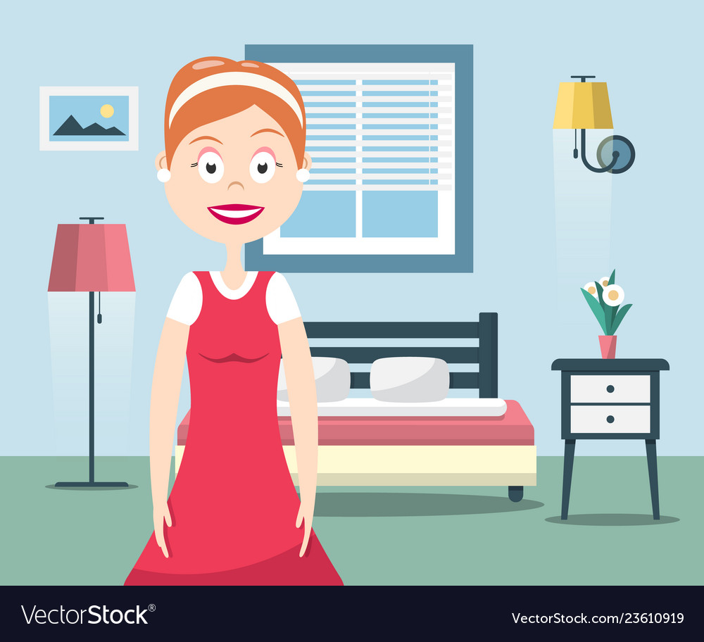 Lady of the house happy woman in bedroom interior