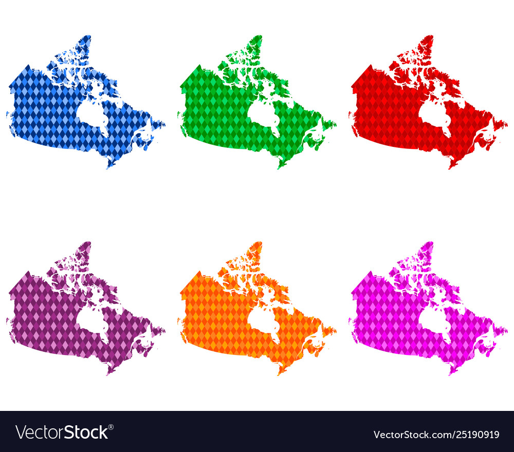 Colored Map Of Canada.Maps Canada With Colored Rhombs Vector Image