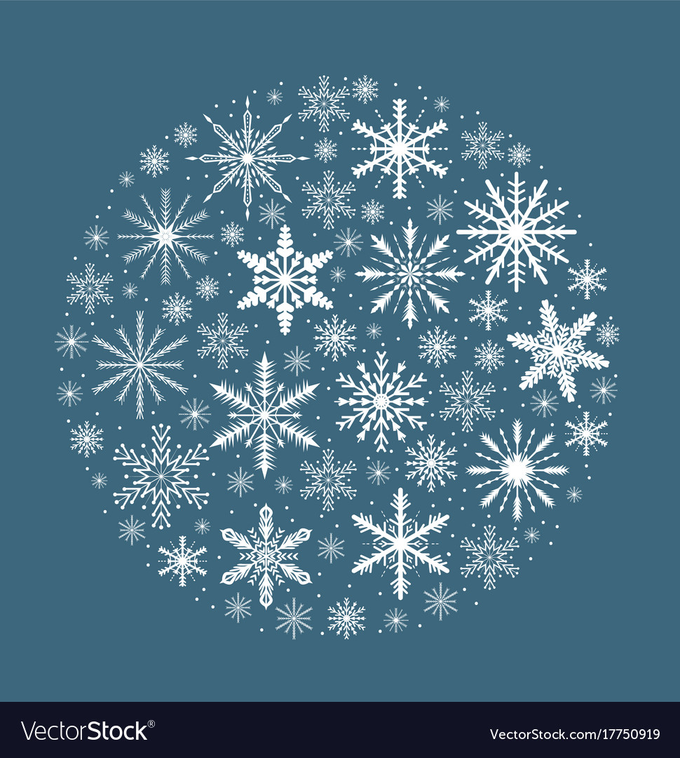 Merry christmas card with snowflakes in round