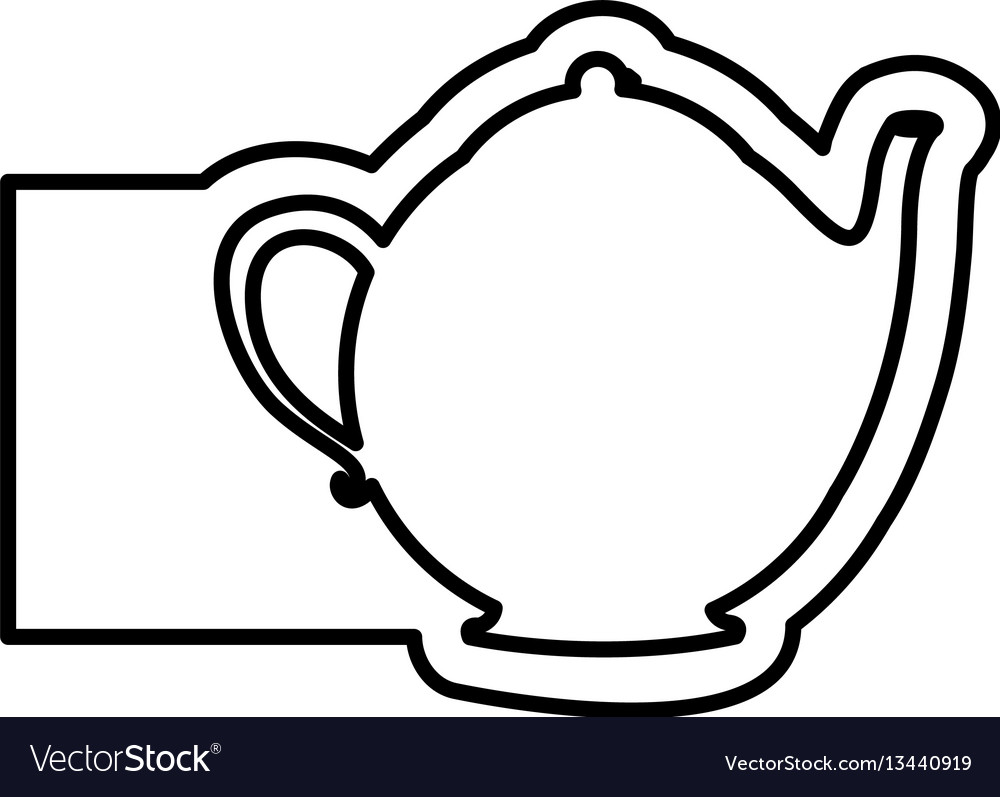 Monochrome contour with teapot of tea and banner