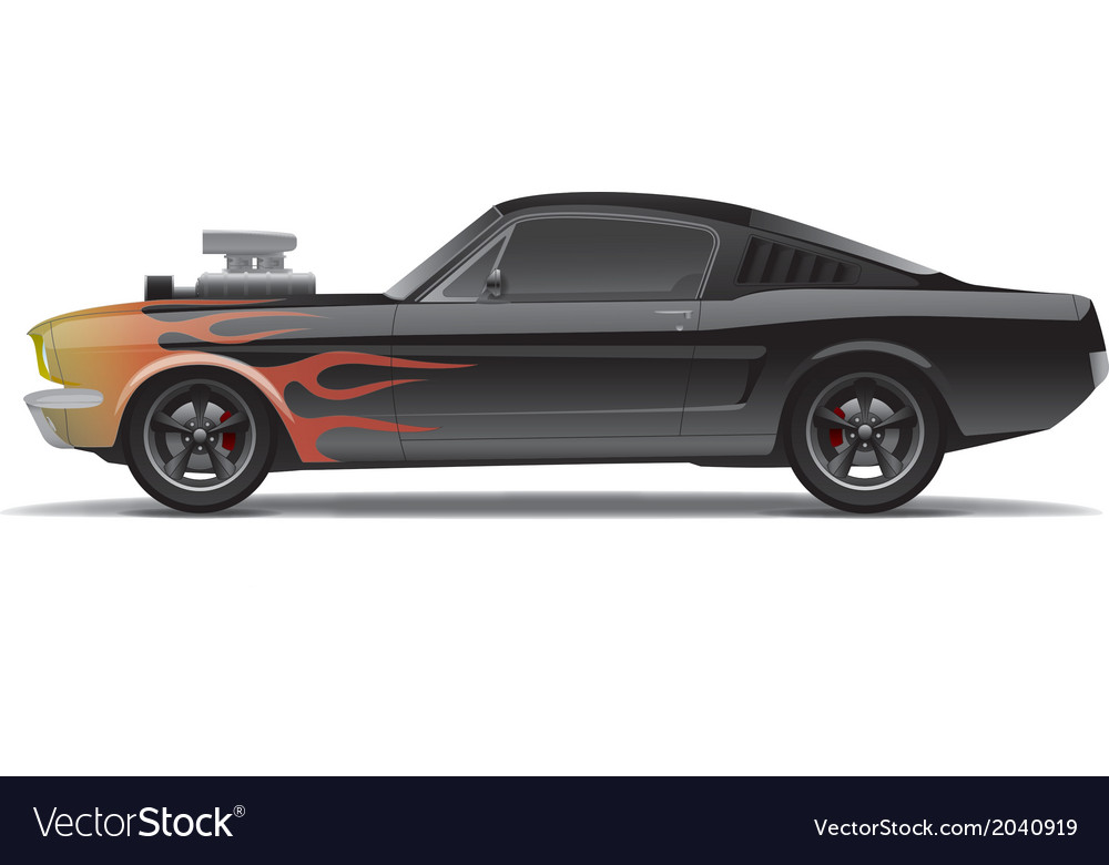 Muscle car with flames