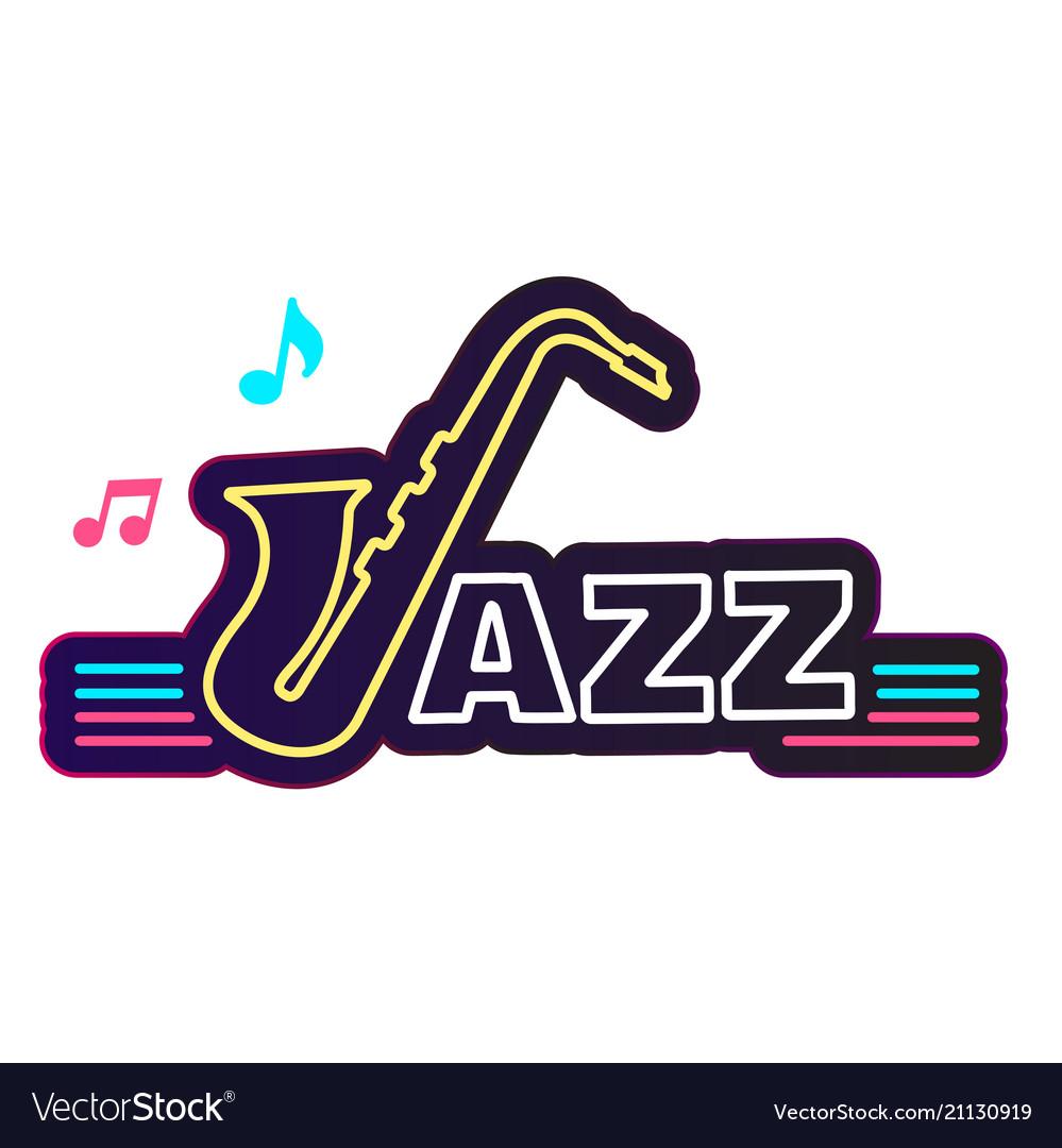 Neon jazz saxophone white background image