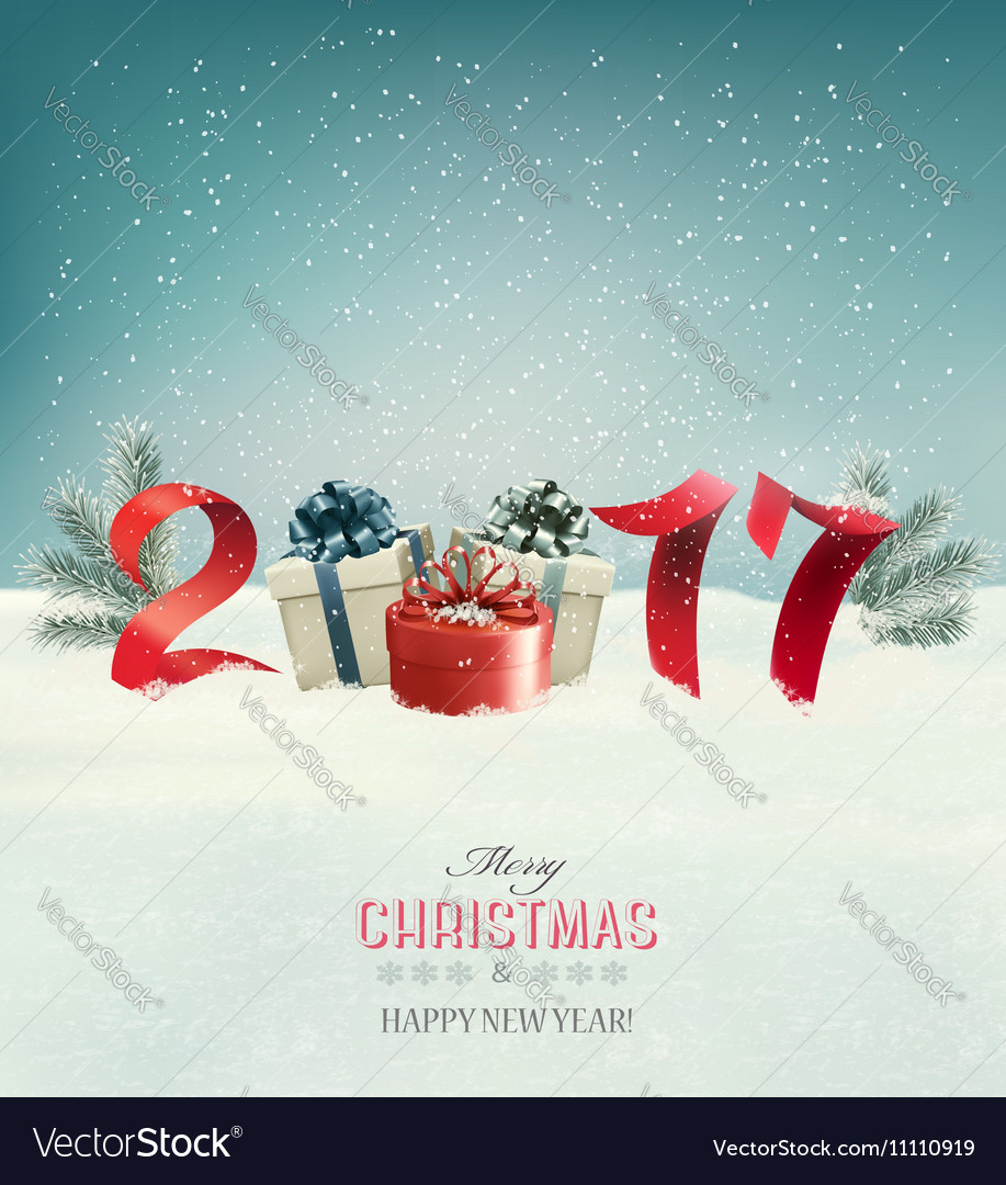 New Year background with a 2017 and gift boxes