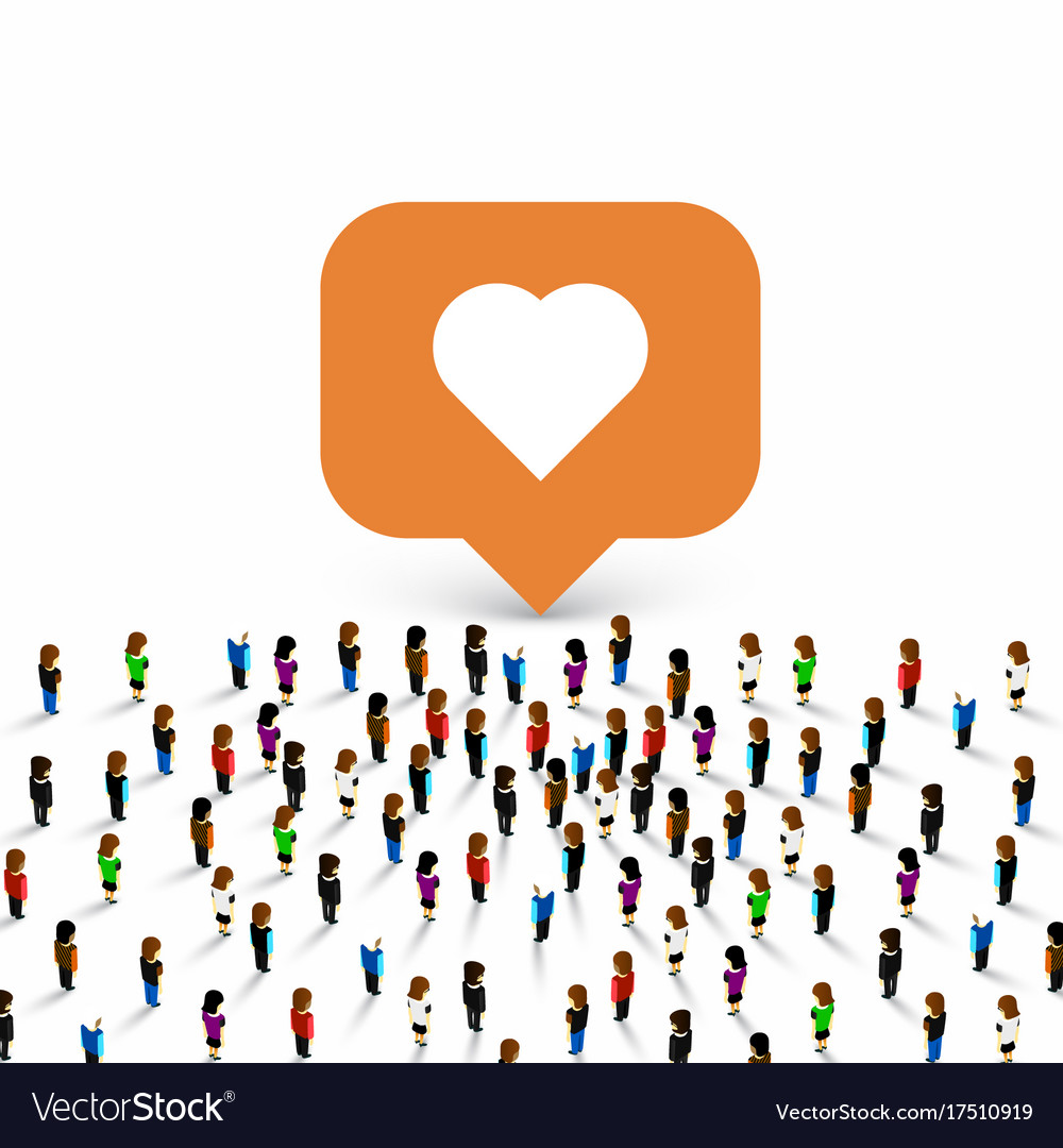 People group like frame heart Royalty Free Vector Image
