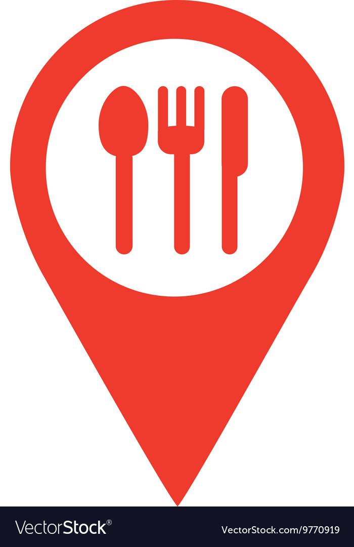 Restaurant Location Pin Isolated Icon Design