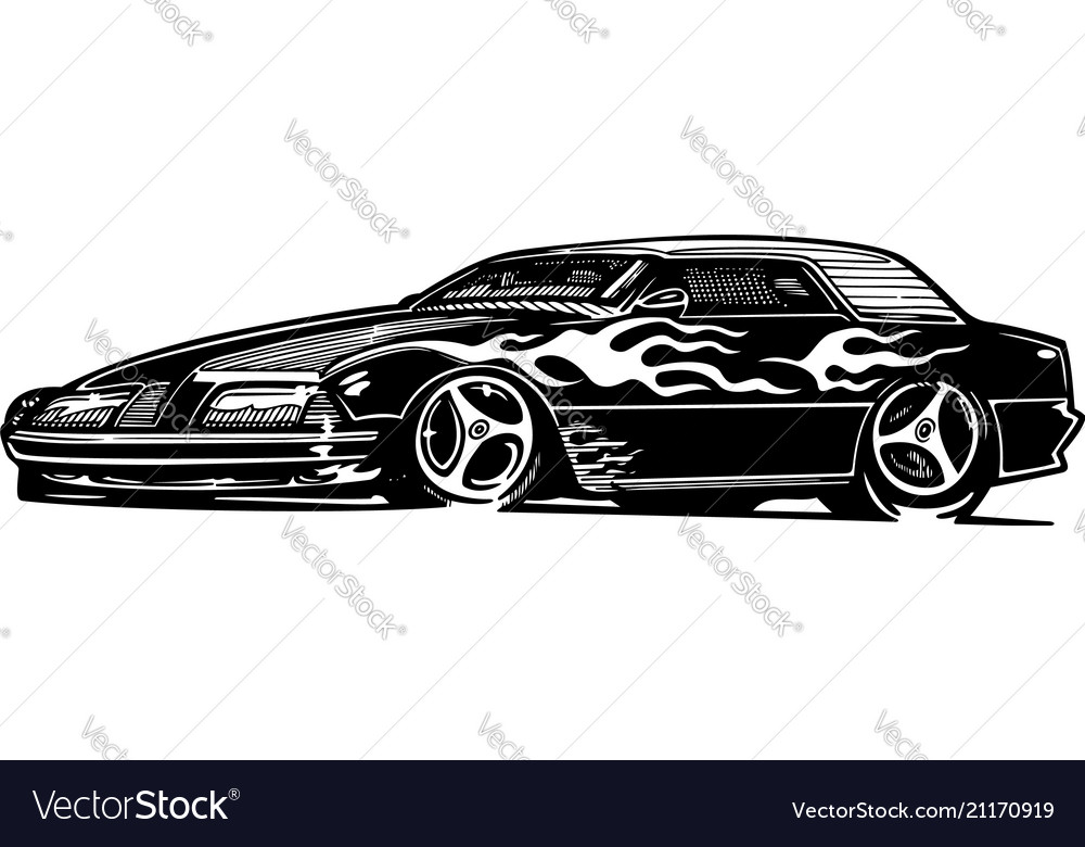 Retro Hotrod Car Clipart Cartoon Royalty Free Vector Image