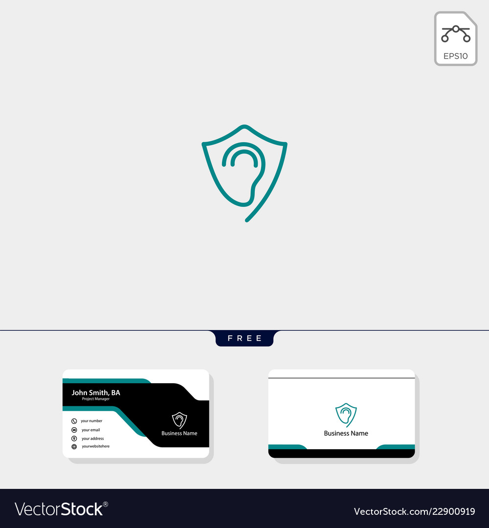 Shield protecting ear logo template free