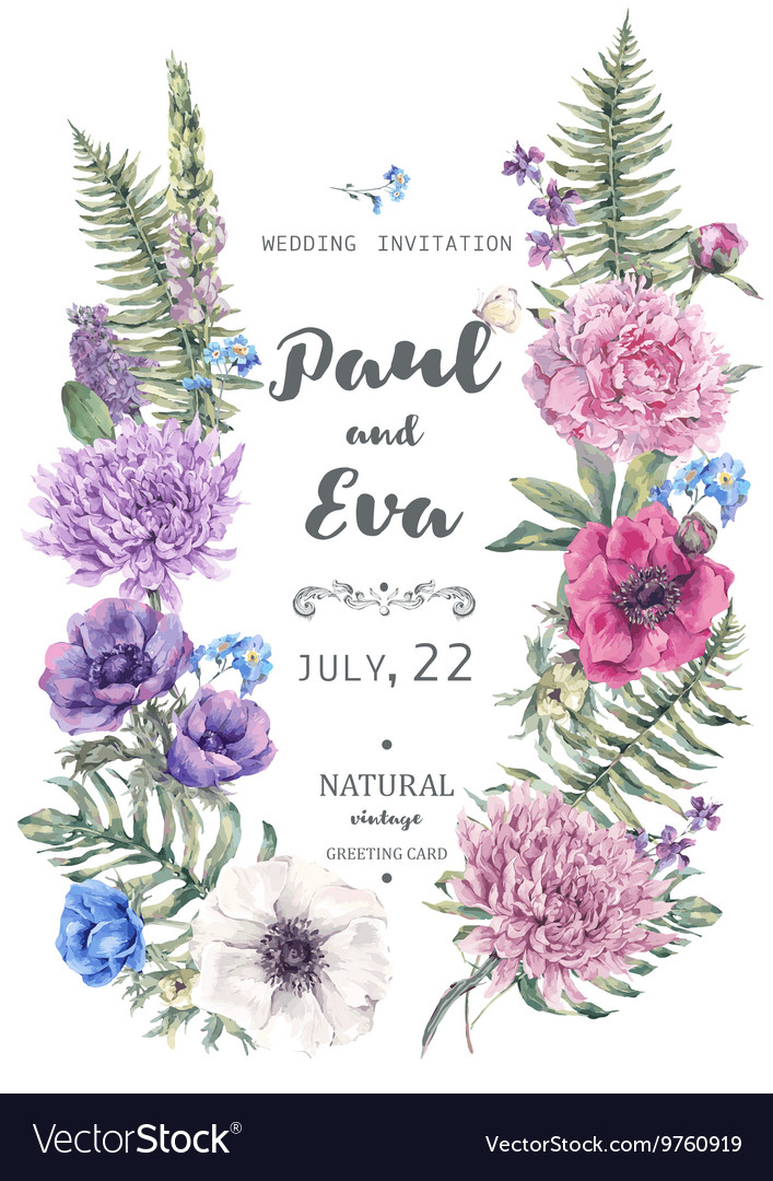 Wedding invitation with wreath anemones