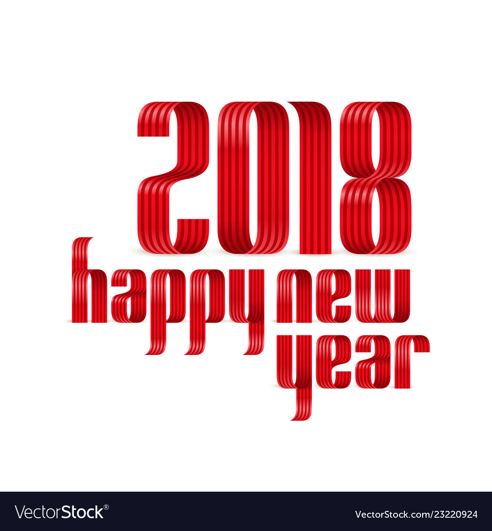 2018 happy new year red ribbon on white background vector image