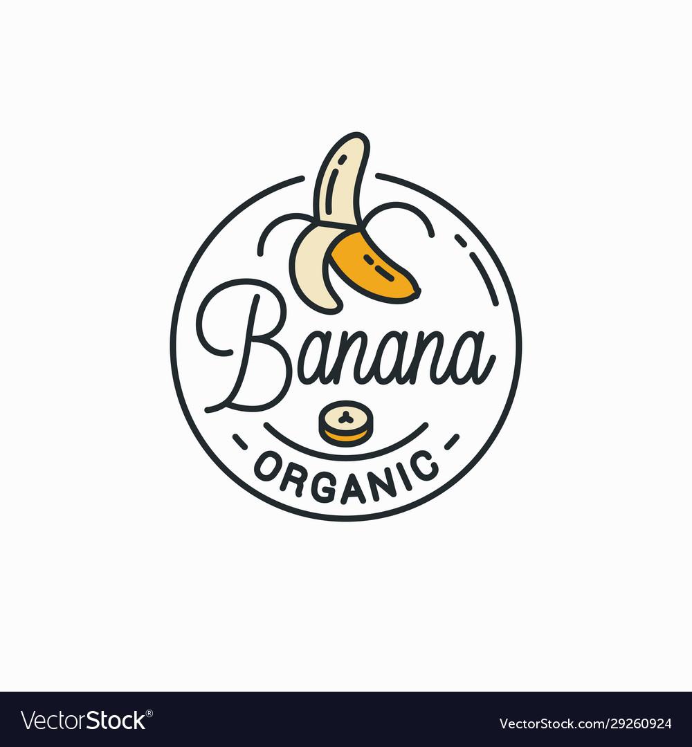 Banana logo round linear logo peeled banana