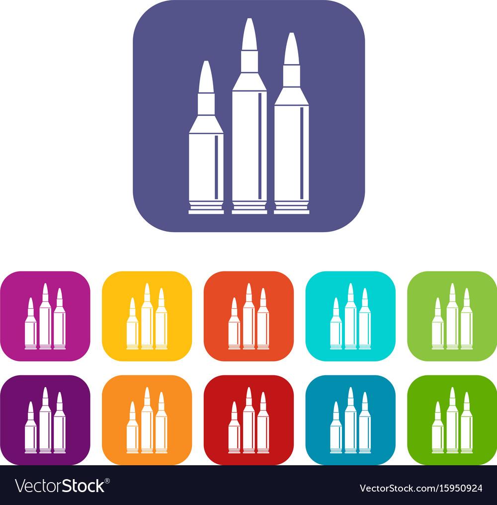 Bullet ammunition icons set