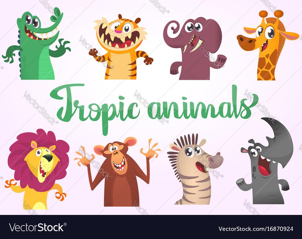 Cartoon tropic wild animals set
