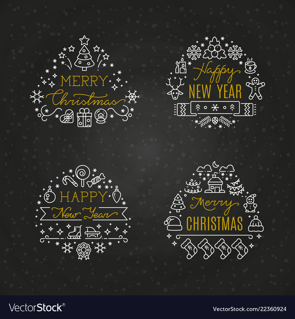 Christmas holiday decorative emblems with