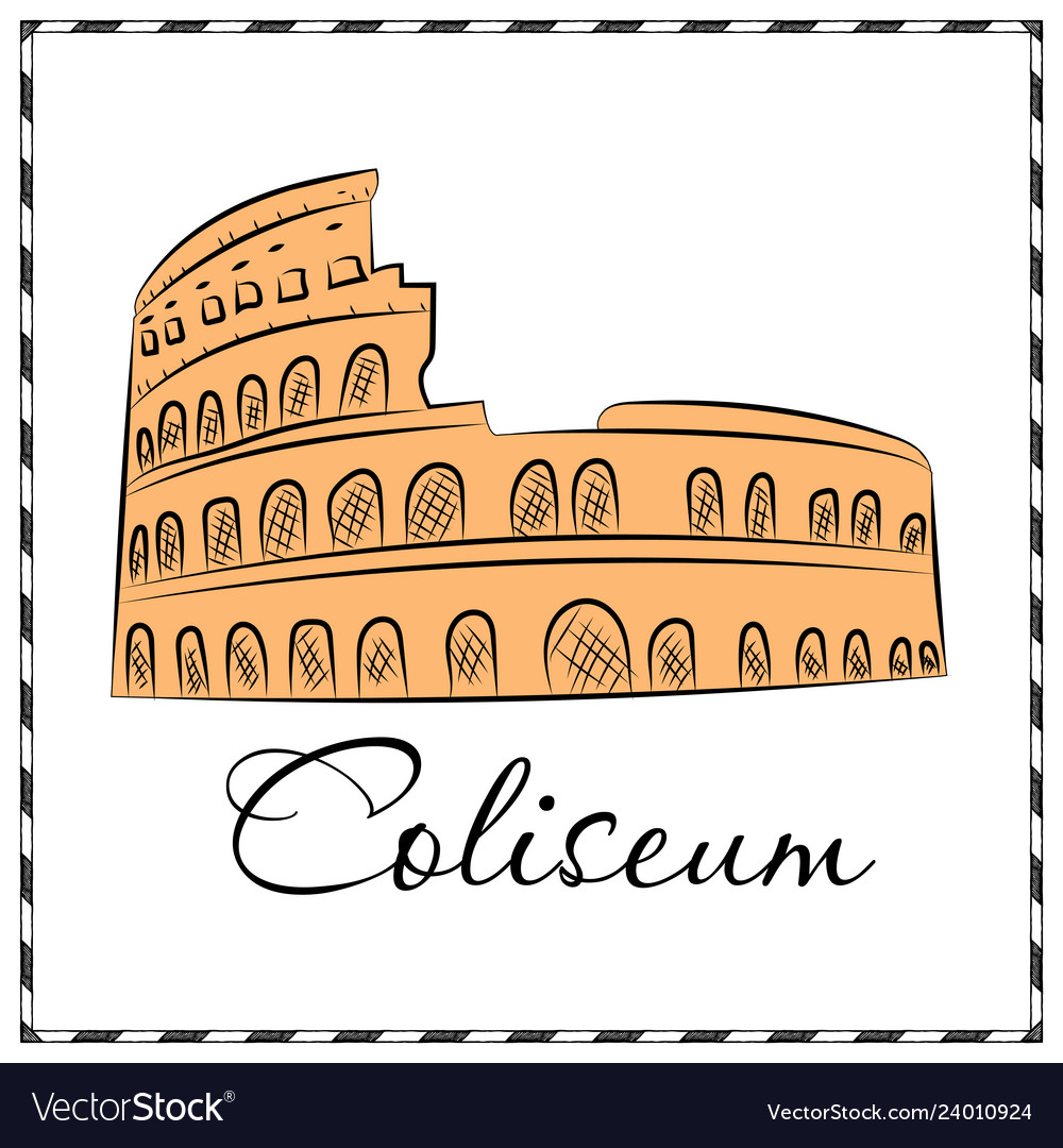 Colosseum in italy icon in cartoon style isolated