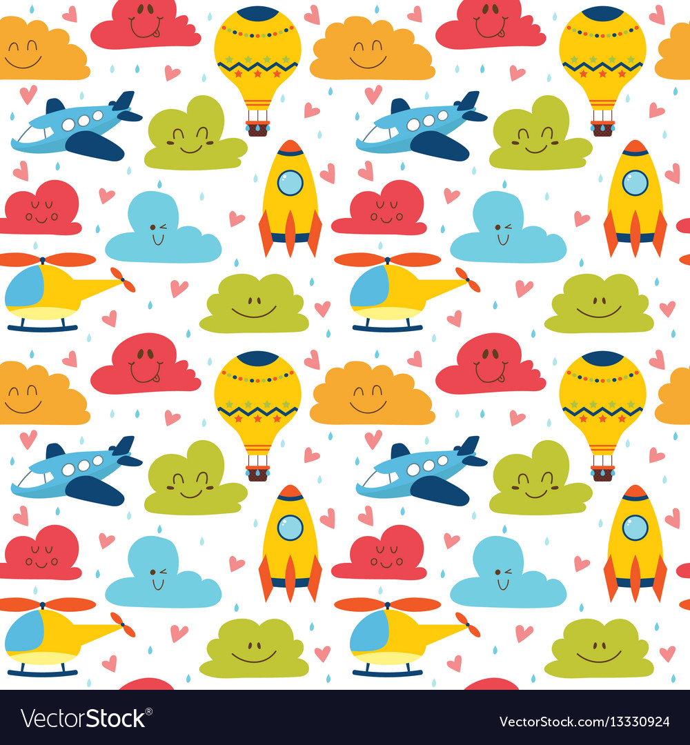 Cute children seamless pattern with plane