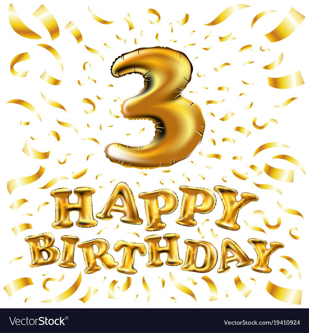 Golden number three 3 metallic balloon party vector image