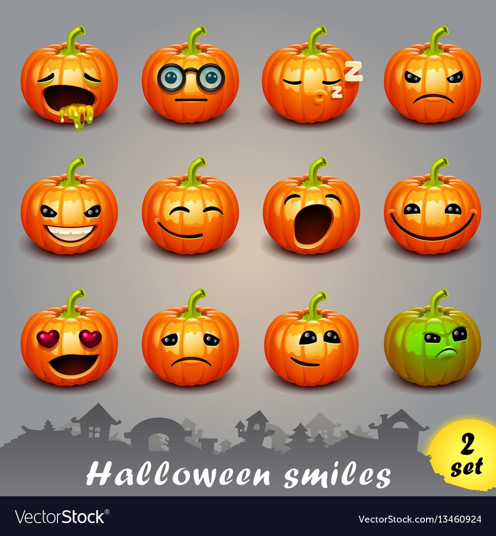 Halloween smiles-set 2 vector image