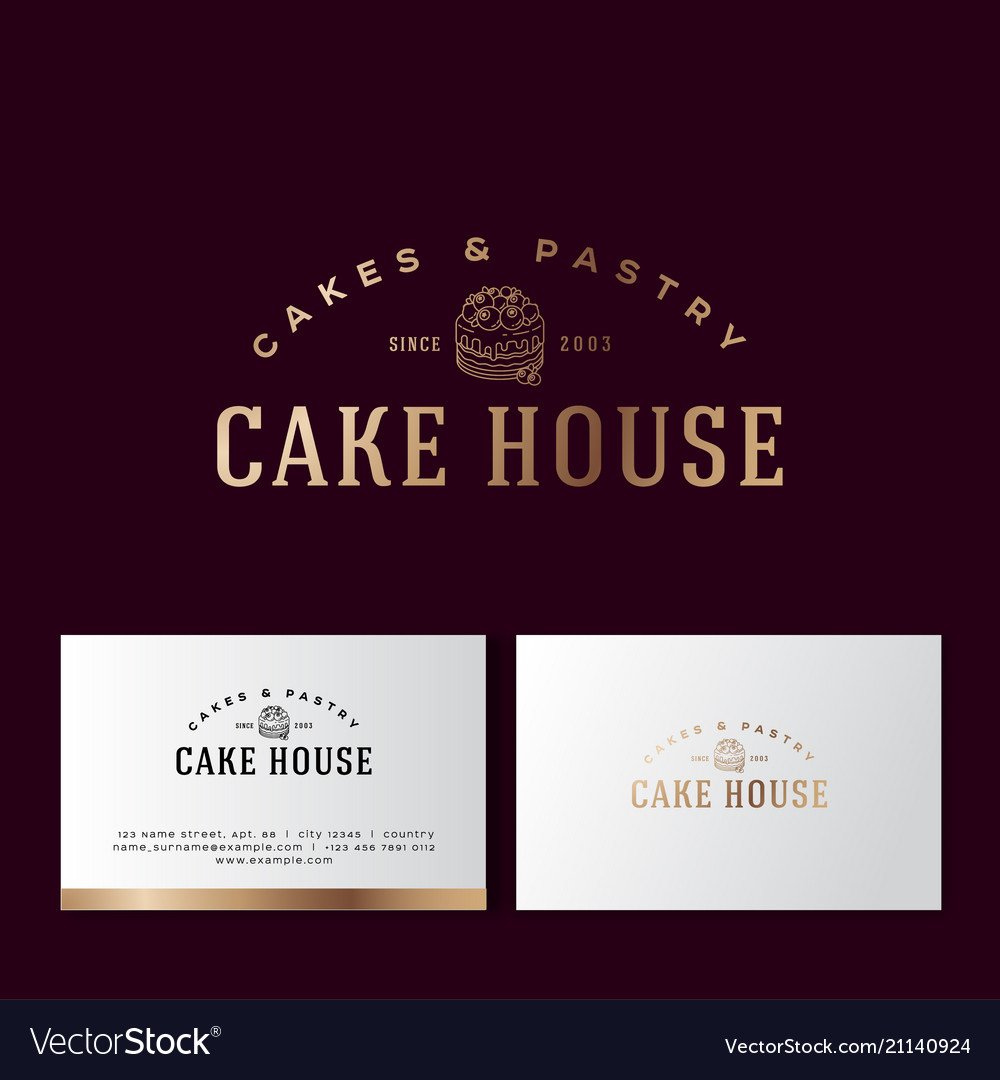 Logo cake pastry gold bakery business card vector image reheart Images