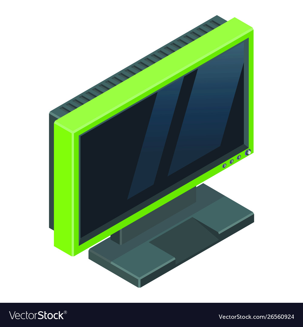 Modern green gamer monitor with reflections on the