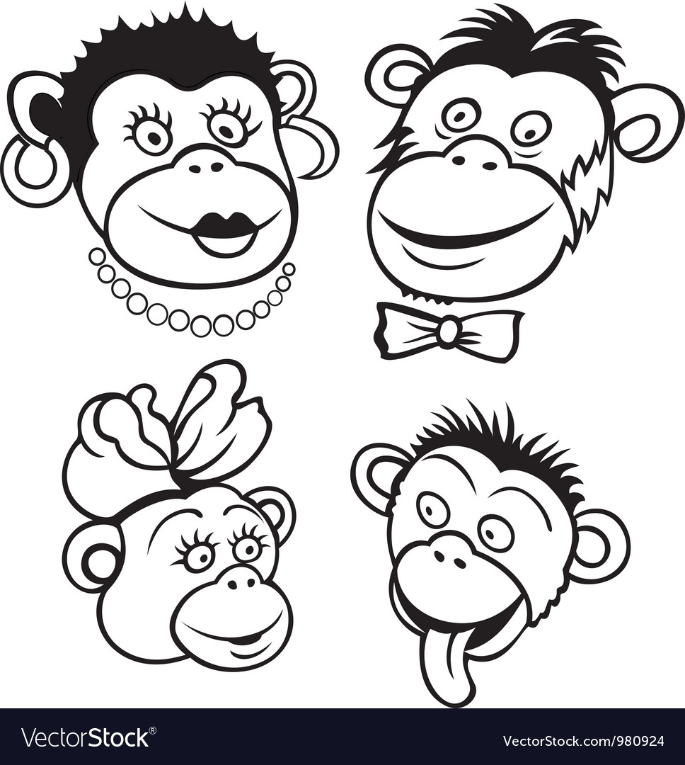 Monkey family vector image