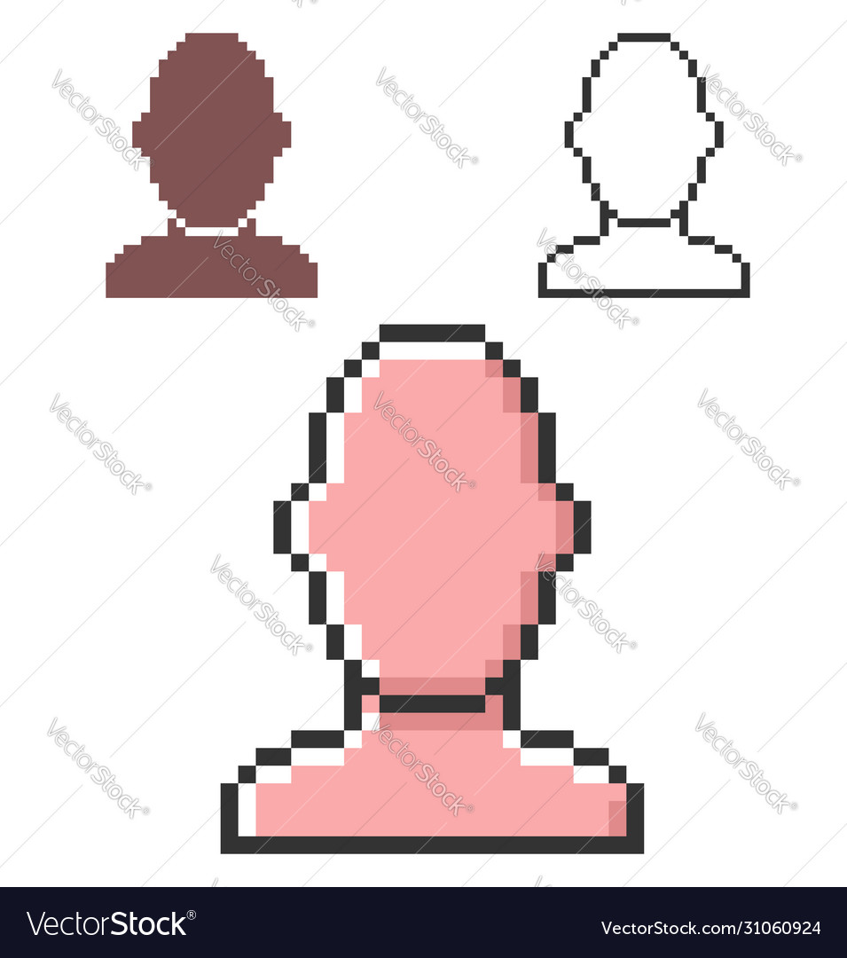 Pixel icon male user picture in three variants