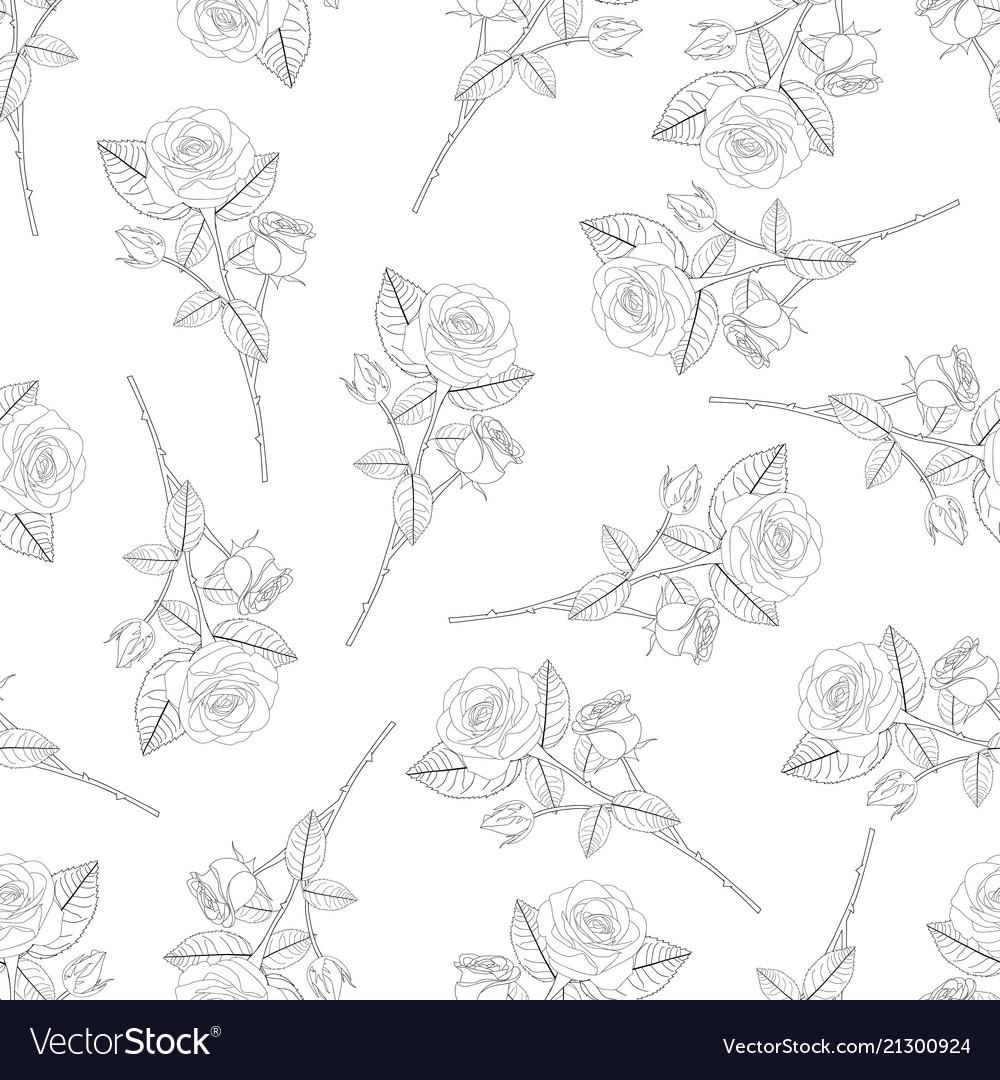 Rose bouquet outline on black background vector image izmirmasajfo