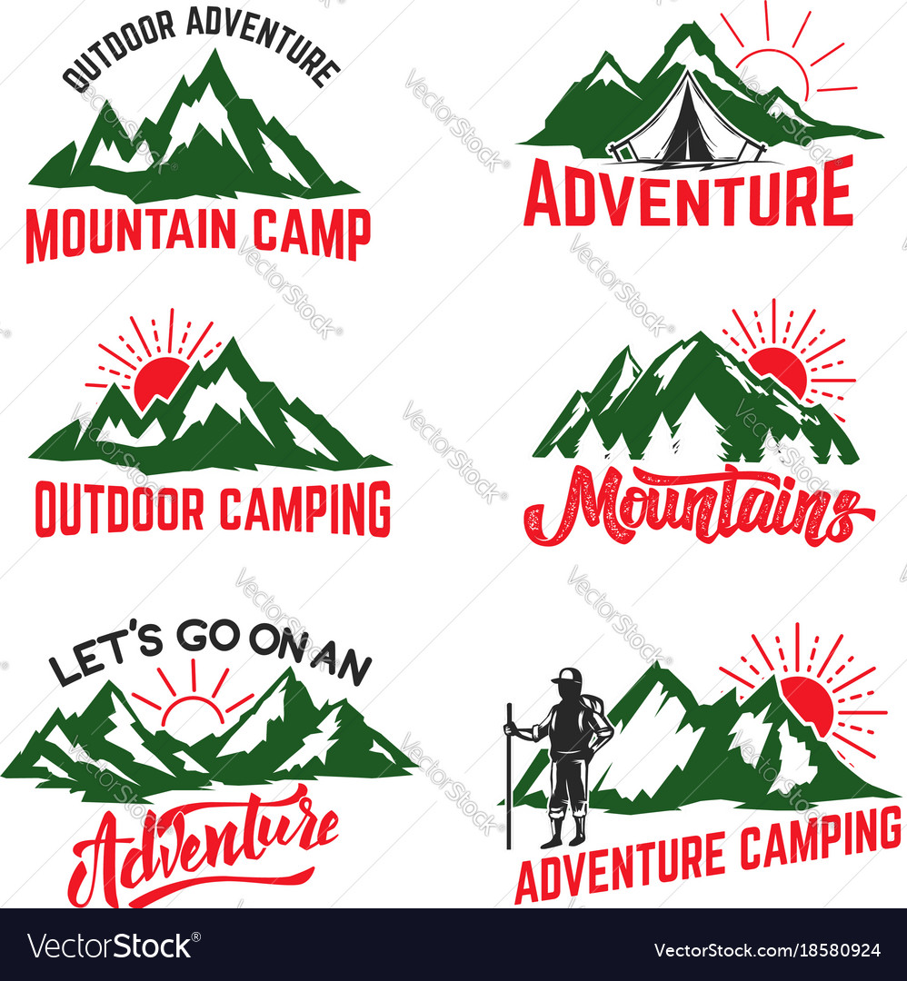 Set of mountain camping badges isolated on white