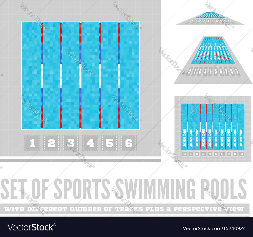 Set of sports swimming pools with different number