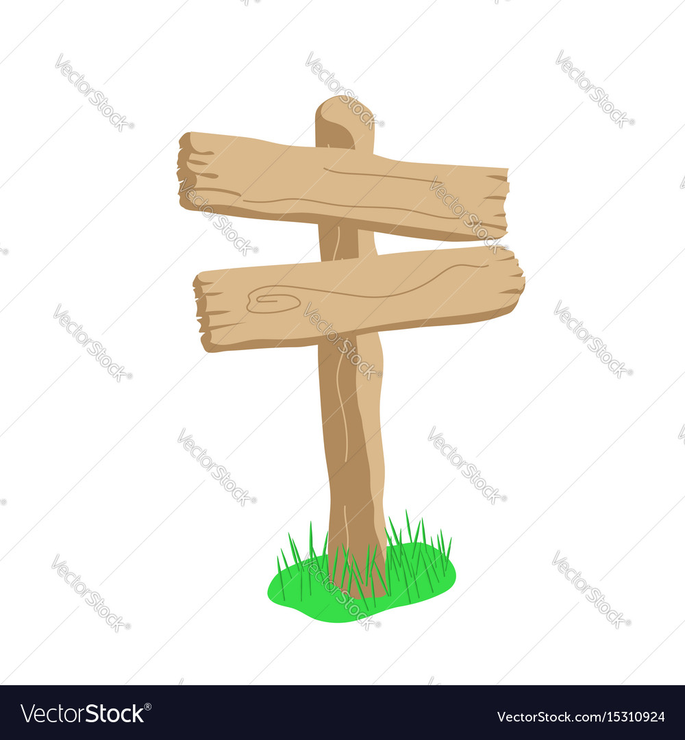 Two arrow shape cartoon wooden sign isolated on vector image