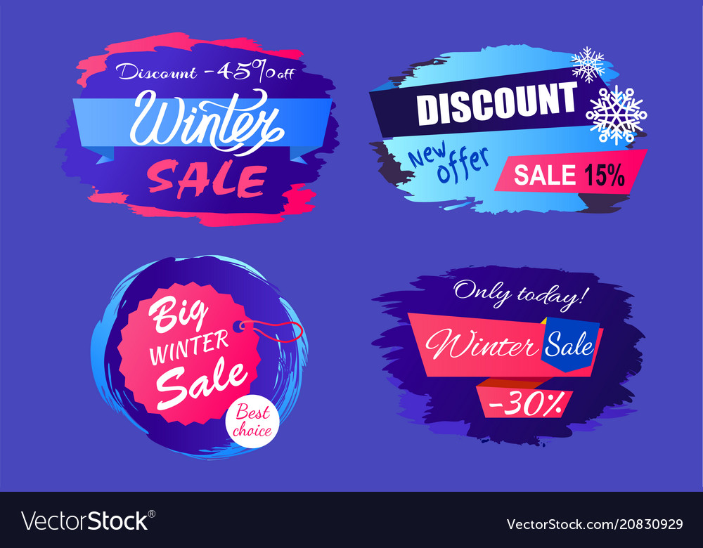 Big winter sale discount off new offer tags set