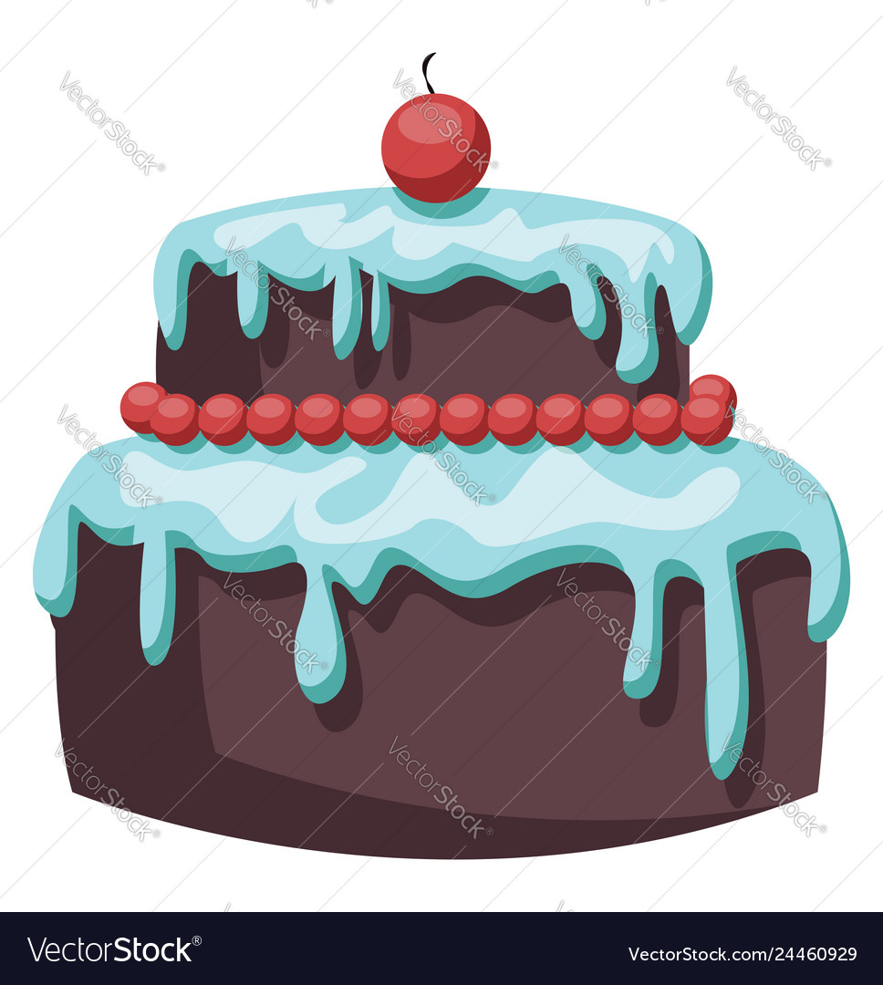 Brown cake with light blue icing and red cherry