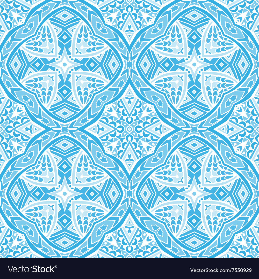 Damask blue seamless tiled pattern