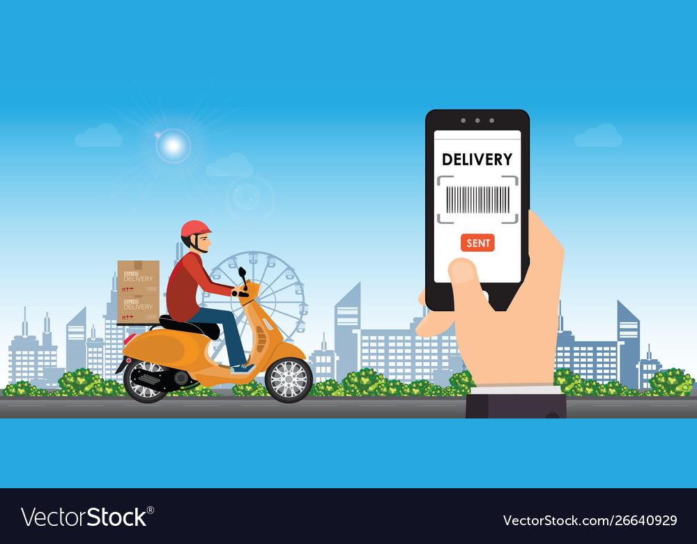 Delivery man ride bike get order