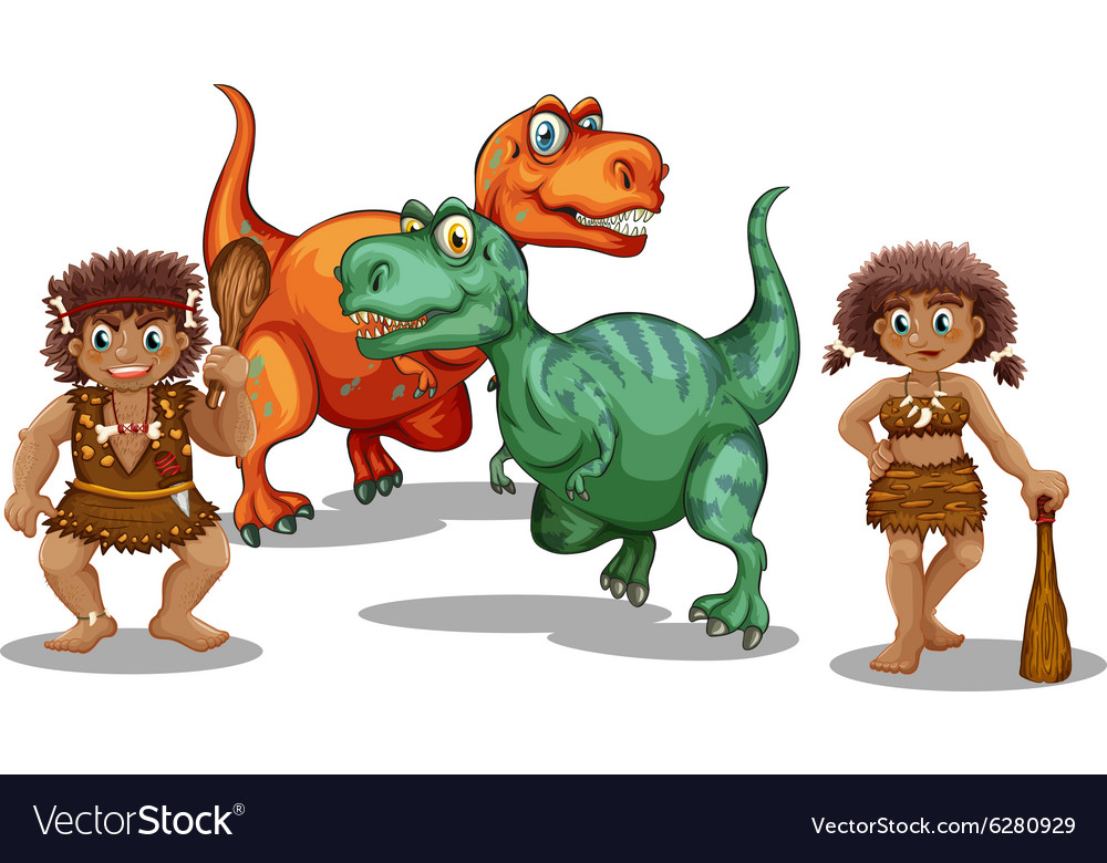 Dinosaurs and cave people