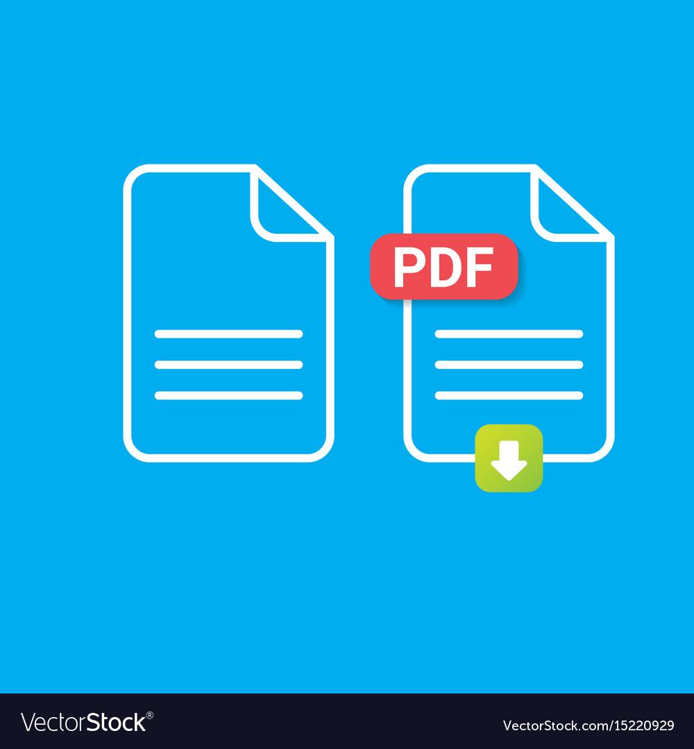 Flat pdf file icon and pdf download icon