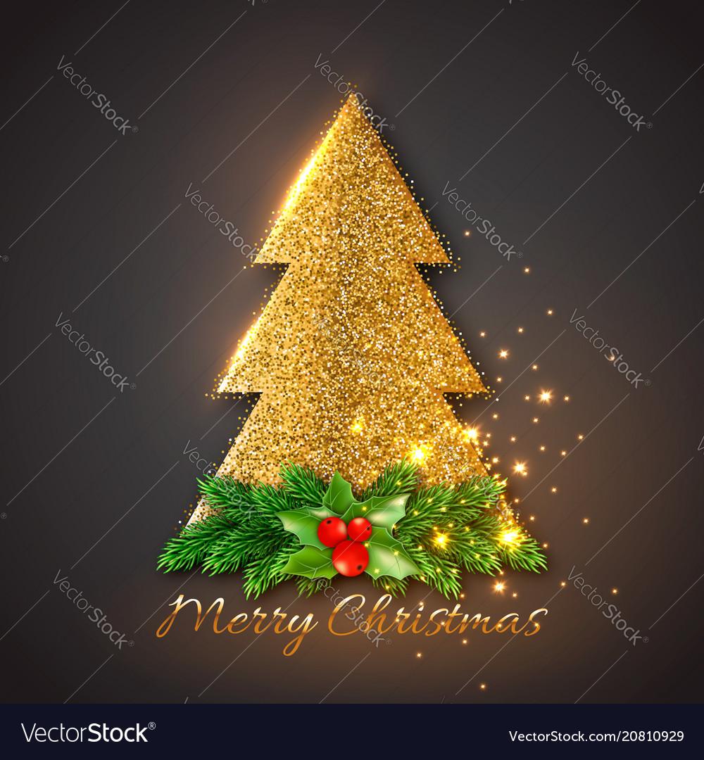 Golden fir-tree with christmas decorative fir