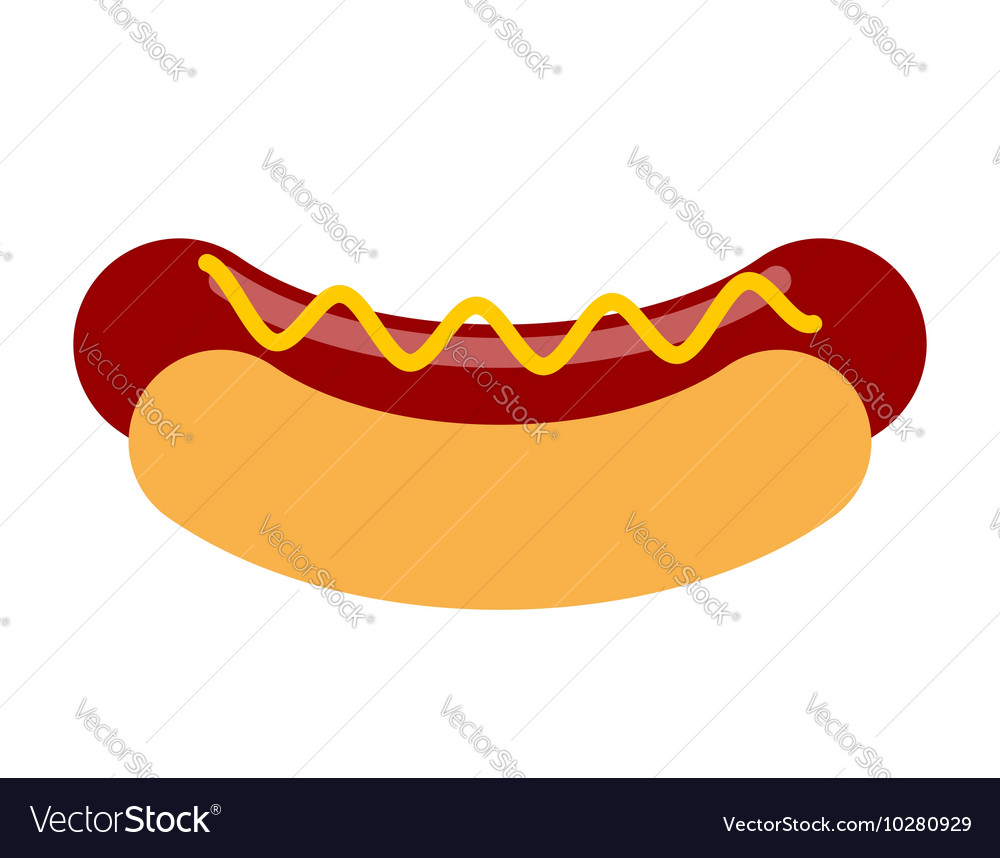 Hot dog with mustard isolated Bun and sausage on