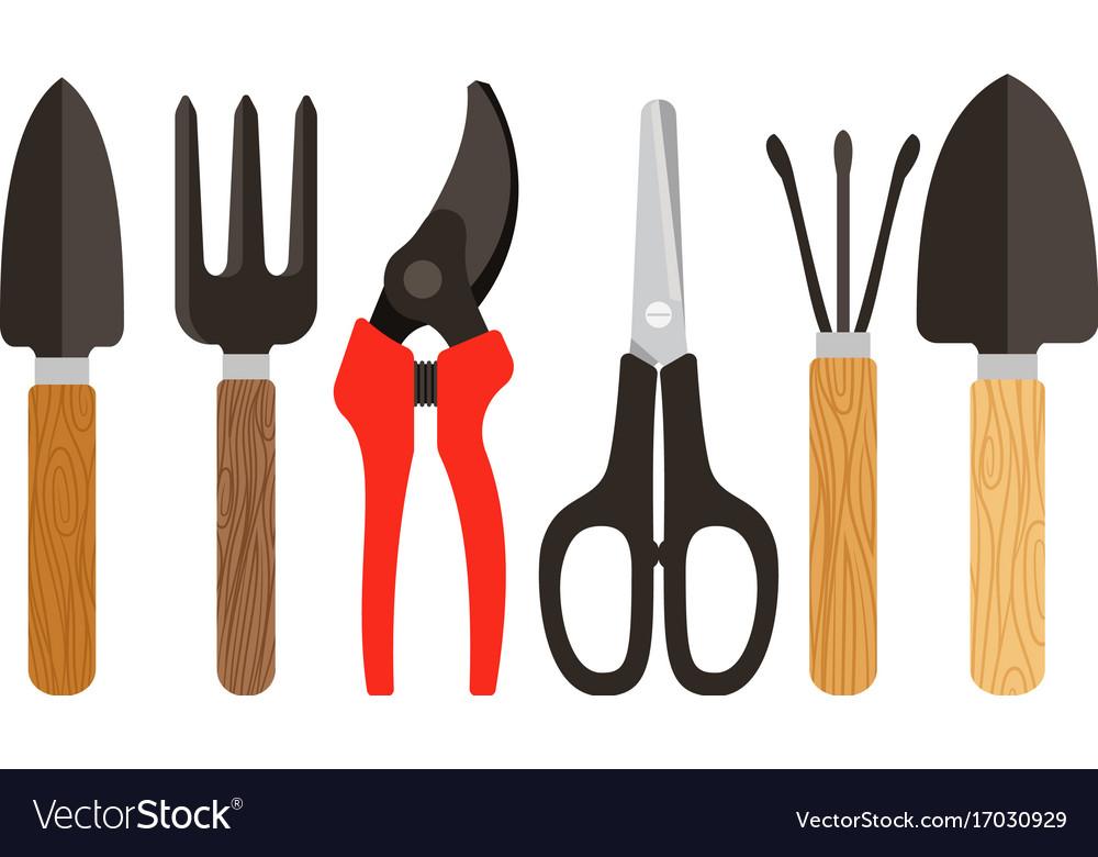 Houseplants tools flat icons vector image