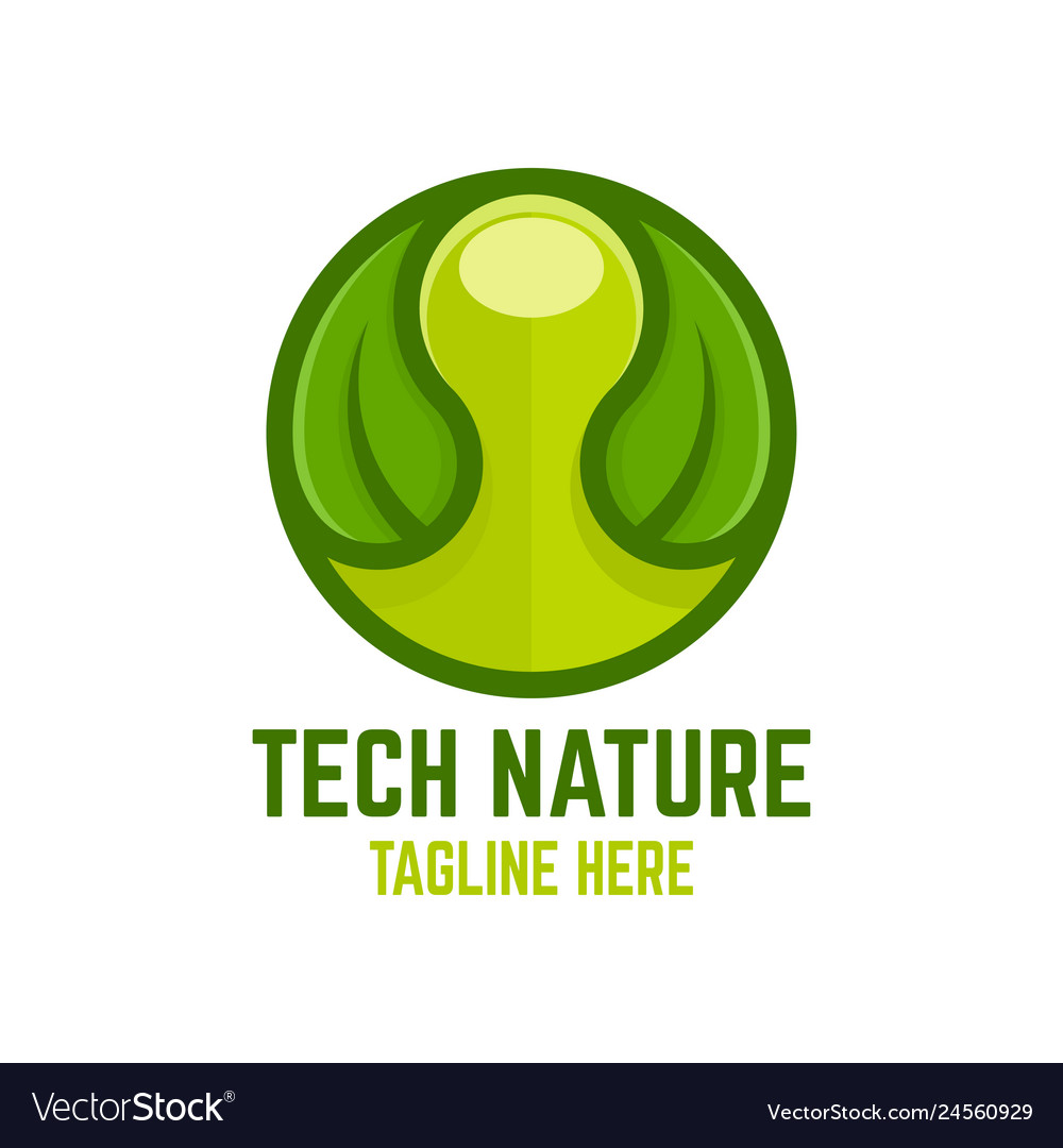 Modern technology nature logo