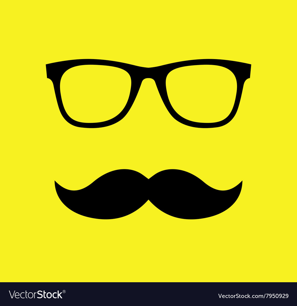 Mustache and Glasses Flat
