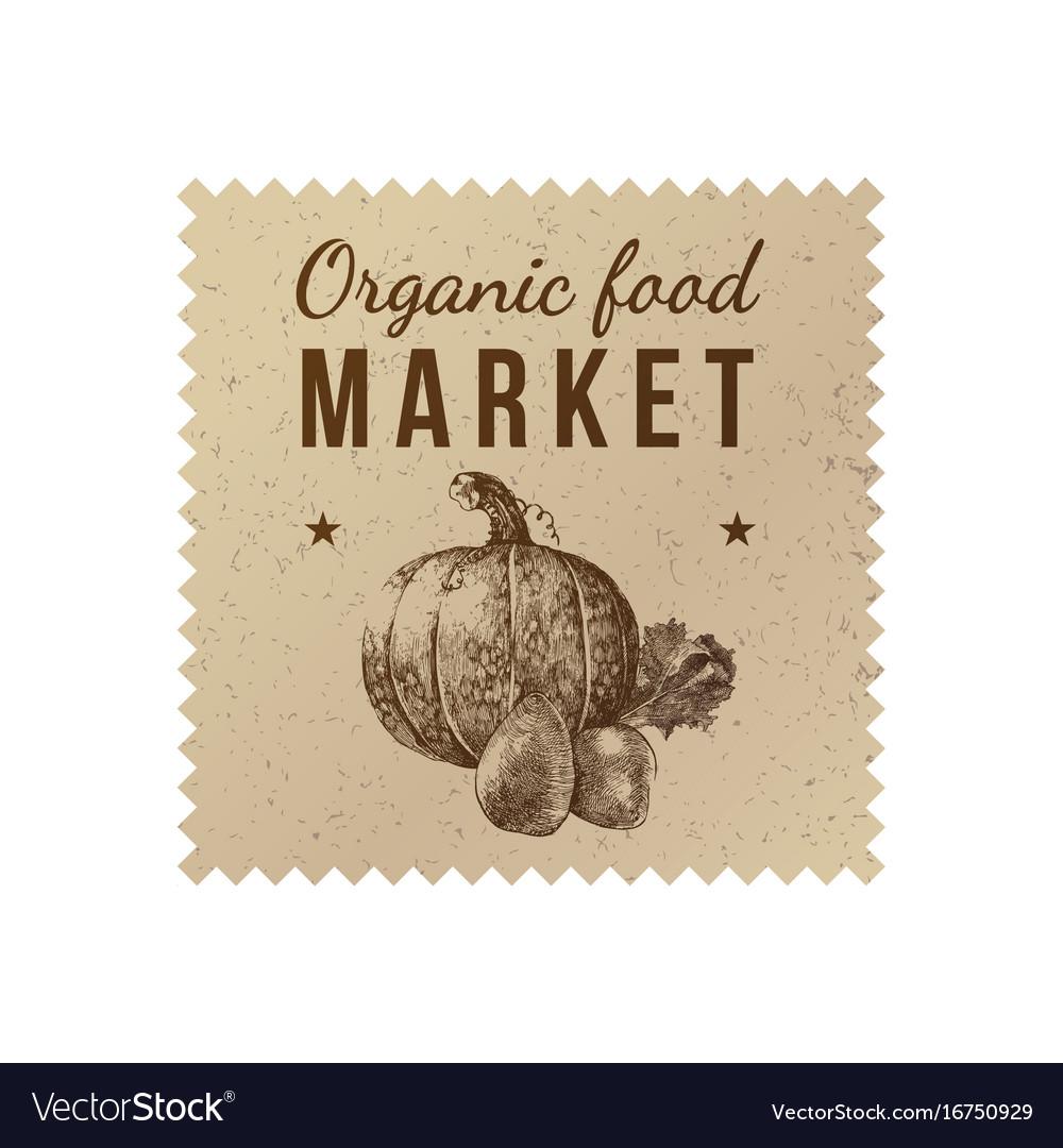 Organic food market label