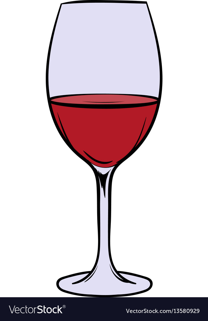 Red wine in glass icon cartoon